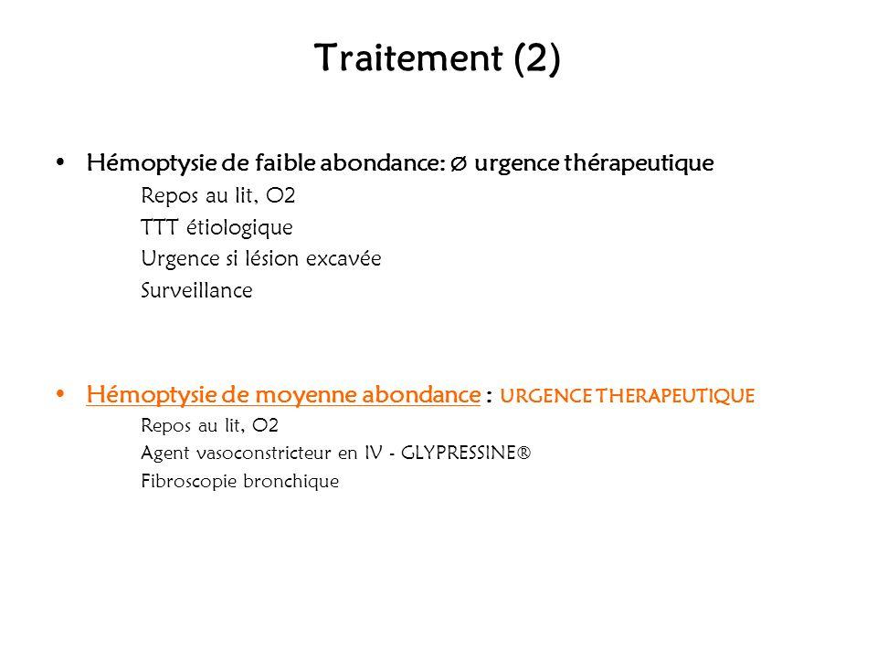 Traitement (2) Hémoptysie de faible abondance: Ø urgence thérapeutique Repos au lit, O2 TTT étiologique Urgence si lésion excavée Surveillance Hémopty