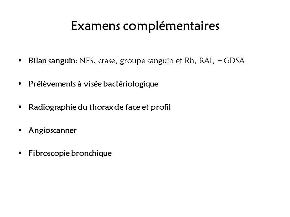 Examens complémentaires Bilan sanguin: NFS, crase, groupe sanguin et Rh, RAI, ±GDSA Prélèvements à visée bactériologique Radiographie du thorax de fac