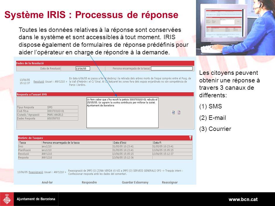 www.bcn.cat Toutes les données relatives à la réponse sont conservées dans le système et sont accessibles à tout moment. IRIS dispose également de for