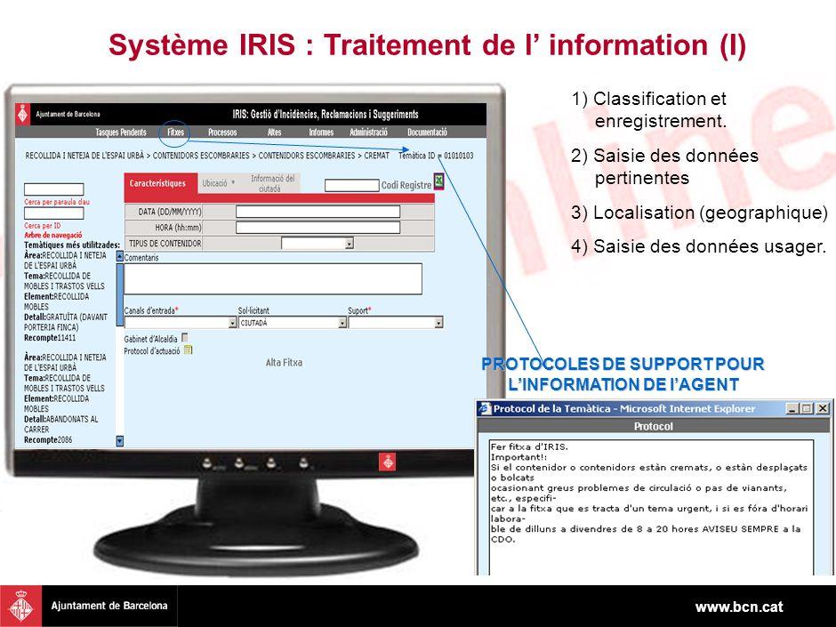 www.bcn.cat Système IRIS : Traitement de l information (I) IRIS también ha sido pensado como herramienta de gestión de incidencies y reclamaciones para una serie de pérfiles que, por su movilidad, no pueden disponer de un ordenador en su operativa diaria 1) Classification et enregistrement.