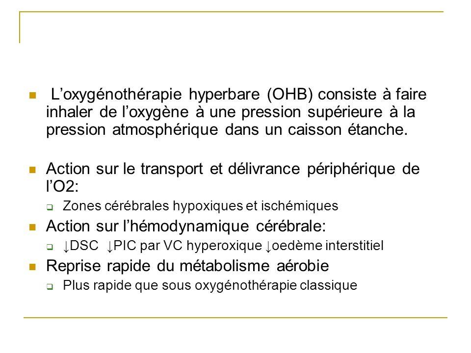 Loxygénothérapie hyperbare (OHB) consiste à faire inhaler de loxygène à une pression supérieure à la pression atmosphérique dans un caisson étanche.