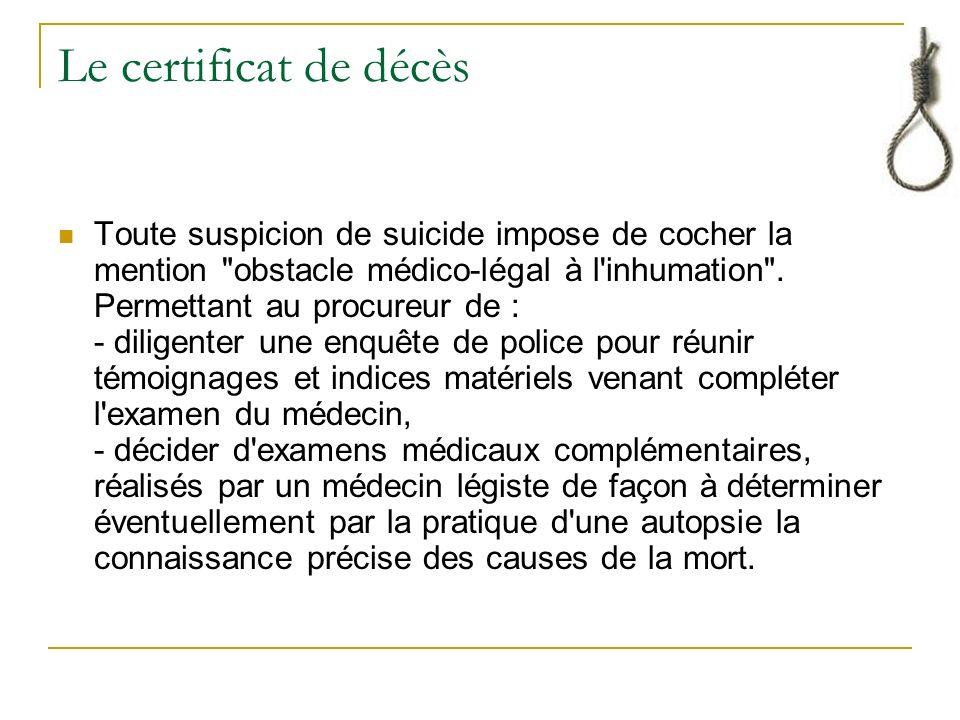 Le certificat de décès Toute suspicion de suicide impose de cocher la mention obstacle médico-légal à l inhumation .