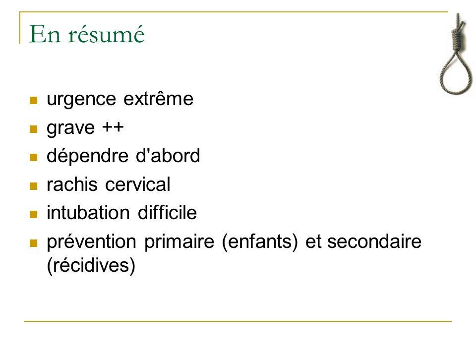 En résumé urgence extrême grave ++ dépendre d abord rachis cervical intubation difficile prévention primaire (enfants) et secondaire (récidives)