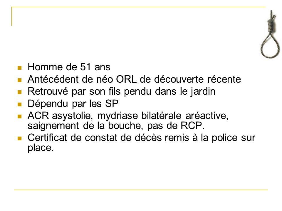 Bibliographie Hennequin C., OByrne P., Conduite à tenir devant une pendaison,2002, Encycl Méd Chir.