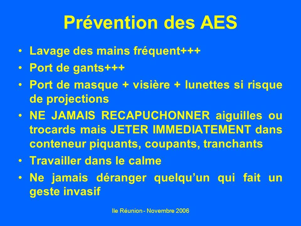 Ile Réunion - Novembre 2006 Prévention des AES Lavage des mains fréquent+++ Port de gants+++ Port de masque + visière + lunettes si risque de projecti