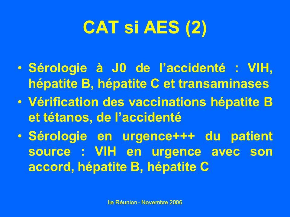 Ile Réunion - Novembre 2006 CAT si AES (2) Sérologie à J0 de laccidenté : VIH, hépatite B, hépatite C et transaminases Vérification des vaccinations h