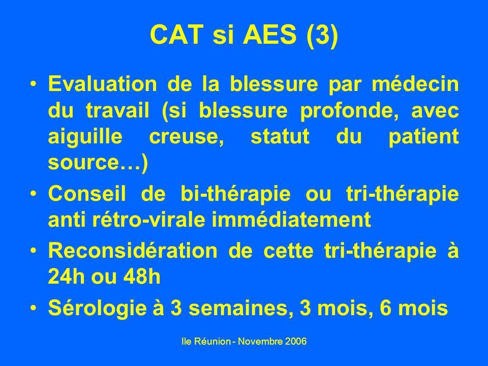 Ile Réunion - Novembre 2006 Risque de contamination avec AES Patient sourceRisque VIH+0,2% Hép.