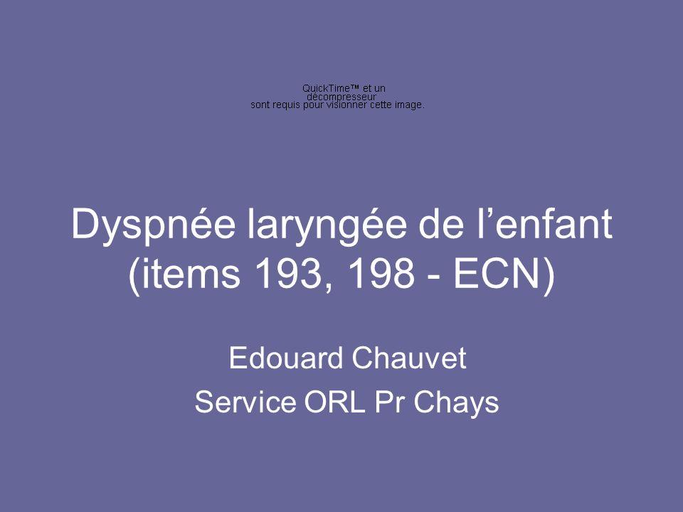 Dyspnée laryngée de lenfant (items 193, 198 - ECN) Edouard Chauvet Service ORL Pr Chays