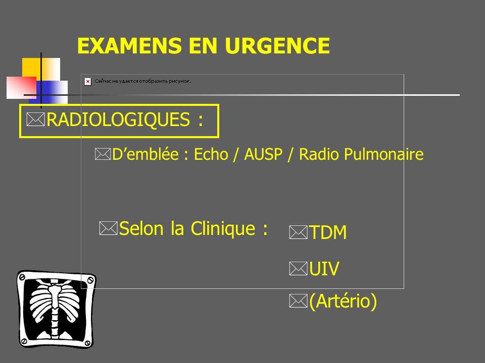 Quel bilan radiologique ? * Echo abdominale * TDM * Angiographie * UIV * UPR