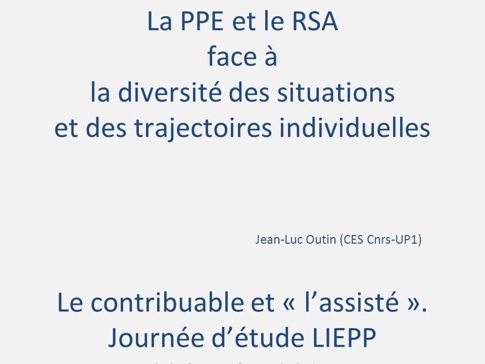La PPE et le RSA face à la diversité des situations et des trajectoires individuelles Jean-Luc Outin (CES Cnrs-UP1) Le contribuable et « lassisté ». J