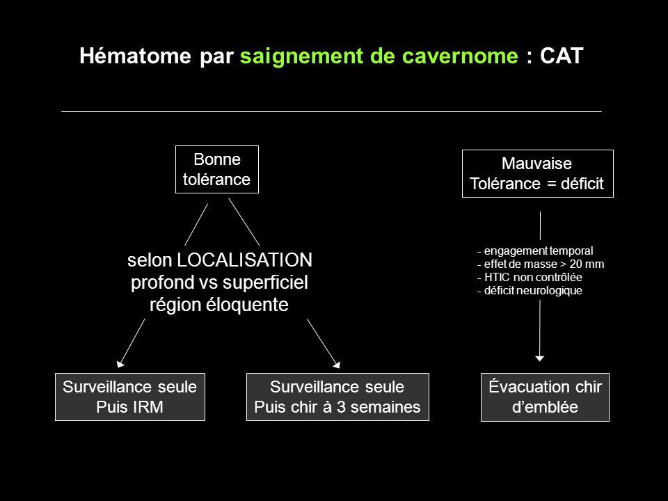 Hématome par saignement de cavernome : CAT Bonne tolérance Mauvaise Tolérance = déficit Surveillance seule Puis IRM Surveillance seule Puis chir à 3 s