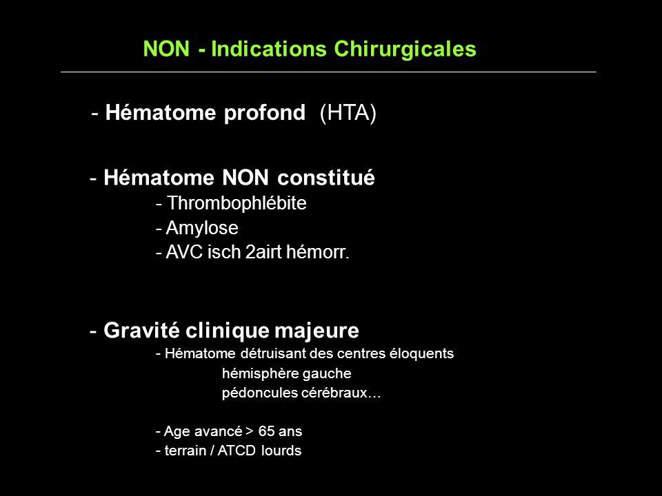 NON - Indications Chirurgicales - Gravité clinique majeure - Hématome détruisant des centres éloquents hémisphère gauche pédoncules cérébraux… - Age avancé > 65 ans - terrain / ATCD lourds - Hématome profond (HTA) - Hématome NON constitué - Thrombophlébite - Amylose - AVC isch 2airt hémorr.