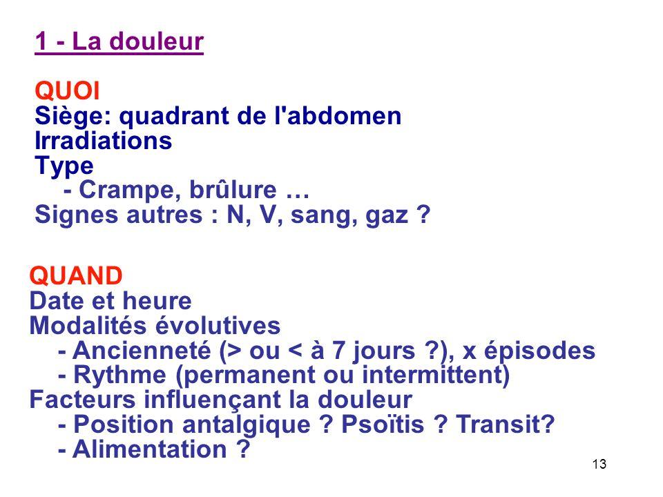 1 - La douleur QUOI Siège: quadrant de l abdomen Irradiations Type - Crampe, brûlure … Signes autres : N, V, sang, gaz .