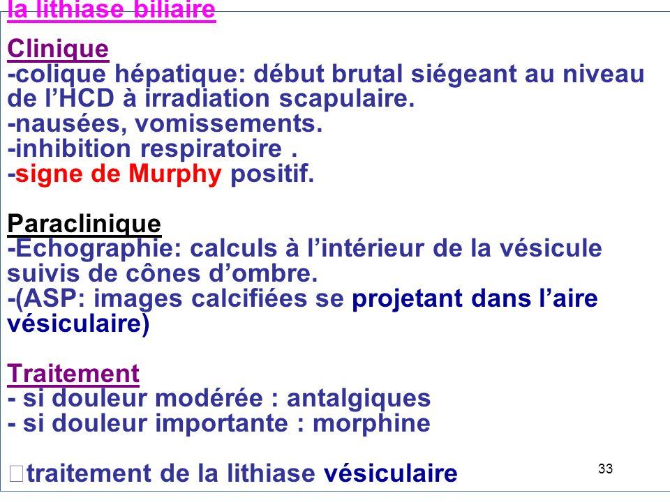 la lithiase biliaire Clinique -colique hépatique: début brutal siégeant au niveau de lHCD à irradiation scapulaire.