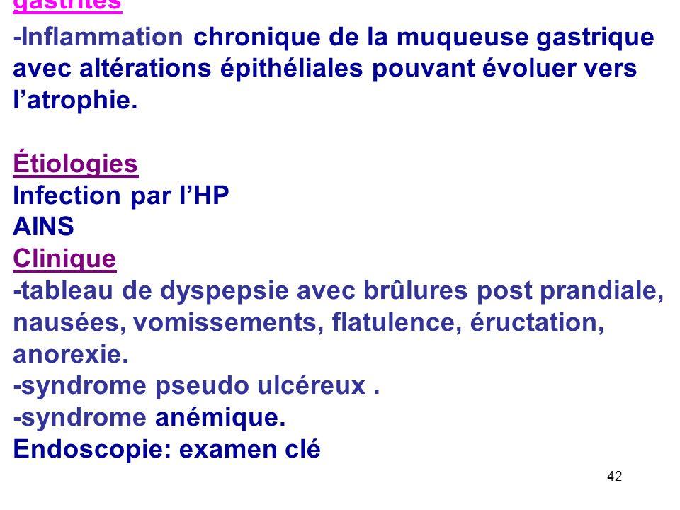 gastrites -Inflammation chronique de la muqueuse gastrique avec altérations épithéliales pouvant évoluer vers latrophie.