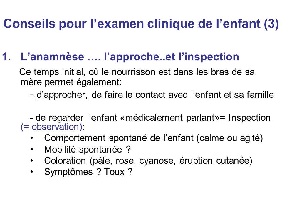 Conseils pour lexamen clinique de lenfant (3) 1.Lanamnèse …. lapproche..et linspection Ce temps initial, où le nourrisson est dans les bras de sa mère
