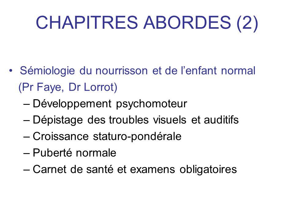 CHAPITRES ABORDES (2) Sémiologie du nourrisson et de lenfant normal (Pr Faye, Dr Lorrot) –Développement psychomoteur –Dépistage des troubles visuels e