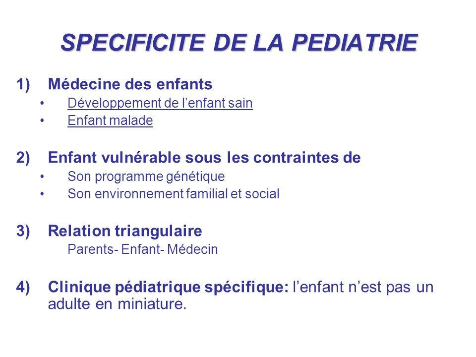 SPECIFICITE DE LA PEDIATRIE 1)Médecine des enfants Développement de lenfant sain Enfant malade 2)Enfant vulnérable sous les contraintes de Son program