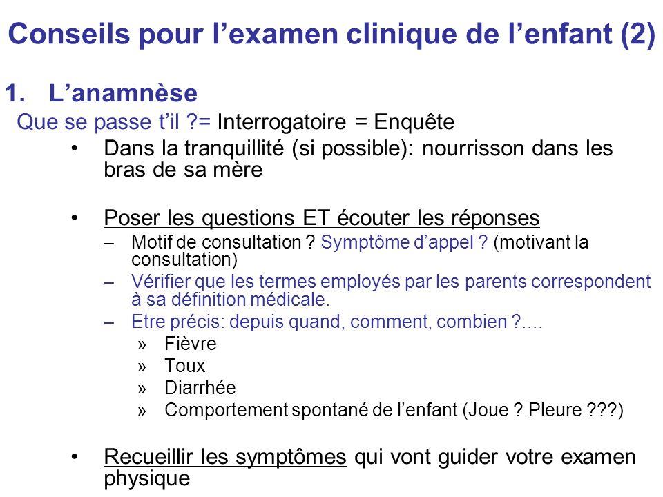 Conseils pour lexamen clinique de lenfant (2) 1.Lanamnèse Que se passe til ?= Interrogatoire = Enquête Dans la tranquillité (si possible): nourrisson