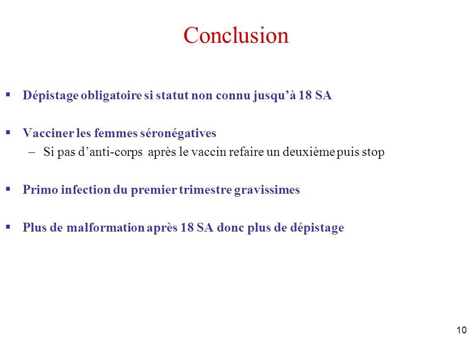 10 Conclusion Dépistage obligatoire si statut non connu jusquà 18 SA Vacciner les femmes séronégatives –Si pas danti-corps après le vaccin refaire un