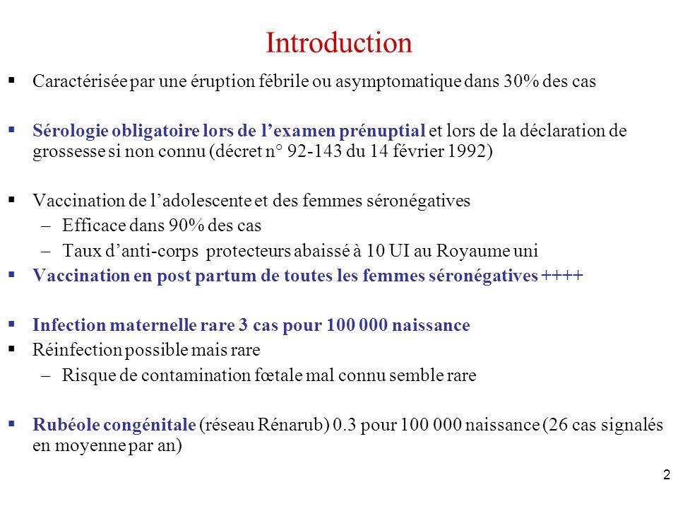 2 Introduction Caractérisée par une éruption fébrile ou asymptomatique dans 30% des cas Sérologie obligatoire lors de lexamen prénuptial et lors de la
