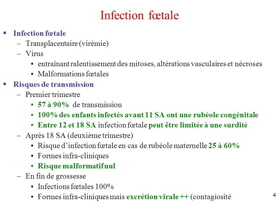 4 Infection fœtale –Transplacentaire (virémie) –Virus entraînant ralentissement des mitoses, altérations vasculaires et nécroses Malformations fœtales