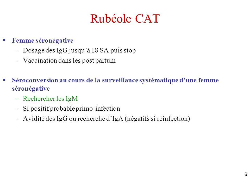 6 Rubéole CAT Femme séronégative –Dosage des IgG jusquà 18 SA puis stop –Vaccination dans les post partum Séroconversion au cours de la surveillance s