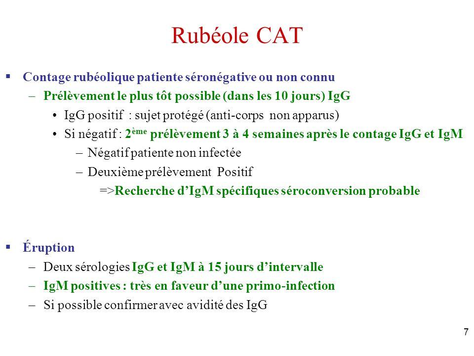 7 Rubéole CAT Contage rubéolique patiente séronégative ou non connu –Prélèvement le plus tôt possible (dans les 10 jours) IgG IgG positif : sujet prot