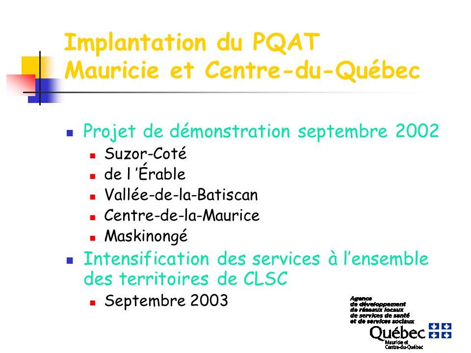 Implantation du PQAT Mauricie et Centre-du-Québec Projet de démonstration septembre 2002 Suzor-Coté de l Érable Vallée-de-la-Batiscan Centre-de-la-Maurice Maskinongé Intensification des services à lensemble des territoires de CLSC Septembre 2003