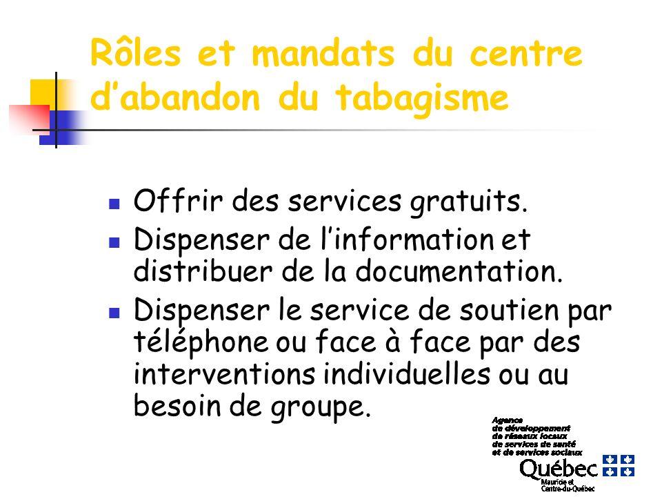 Rôles et mandats du centre dabandon du tabagisme Offrir des services gratuits. Dispenser de linformation et distribuer de la documentation. Dispenser