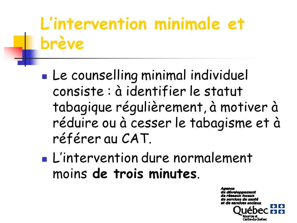Lintervention minimale et brève Le counselling minimal individuel consiste : à identifier le statut tabagique régulièrement, à motiver à réduire ou à cesser le tabagisme et à référer au CAT.