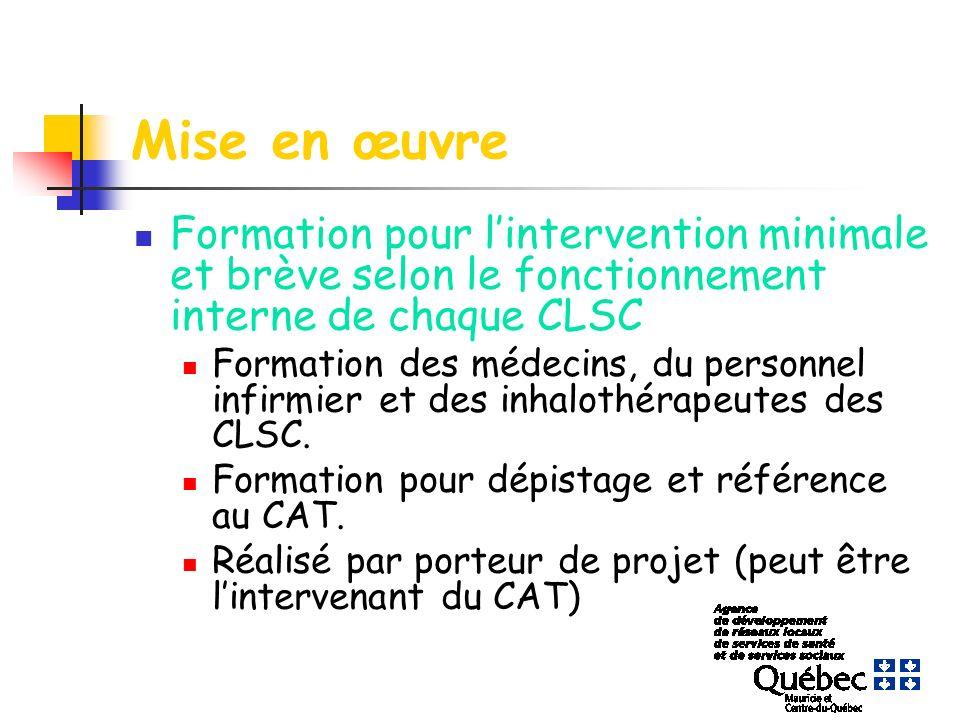 Mise en œuvre Formation pour lintervention minimale et brève selon le fonctionnement interne de chaque CLSC Formation des médecins, du personnel infirmier et des inhalothérapeutes des CLSC.