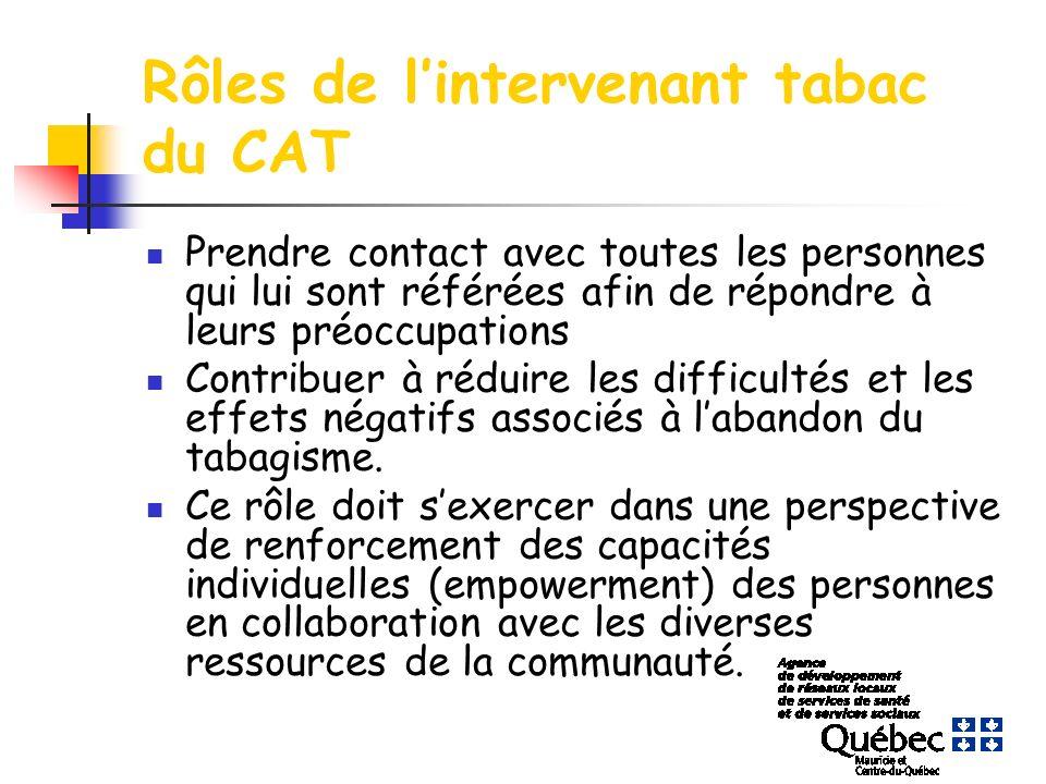 Rôles de lintervenant tabac du CAT Prendre contact avec toutes les personnes qui lui sont référées afin de répondre à leurs préoccupations Contribuer à réduire les difficultés et les effets négatifs associés à labandon du tabagisme.