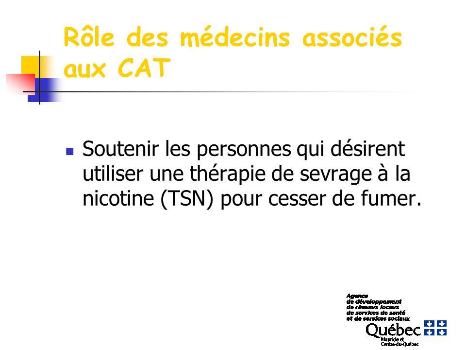 Rôle des médecins associés aux CAT Soutenir les personnes qui désirent utiliser une thérapie de sevrage à la nicotine (TSN) pour cesser de fumer.