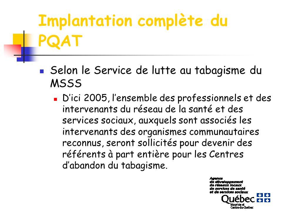 Implantation complète du PQAT Selon le Service de lutte au tabagisme du MSSS Dici 2005, lensemble des professionnels et des intervenants du réseau de