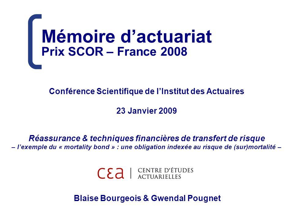 Mémoire dactuariat Prix SCOR – France 2008 Conférence Scientifique de lInstitut des Actuaires 23 Janvier 2009 Réassurance & techniques financières de