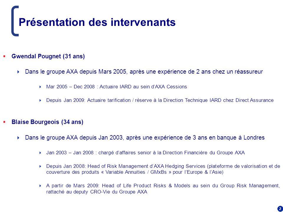 2 Présentation des intervenants Gwendal Pougnet (31 ans) Dans le groupe AXA depuis Mars 2005, après une expérience de 2 ans chez un réassureur Mar 200