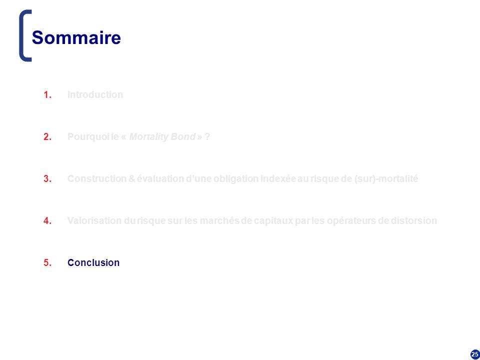 25 Sommaire 1.Introduction 2.Pourquoi le « Mortality Bond » ? 3.Construction & évaluation dune obligation indexée au risque de (sur)-mortalité 4.Valor