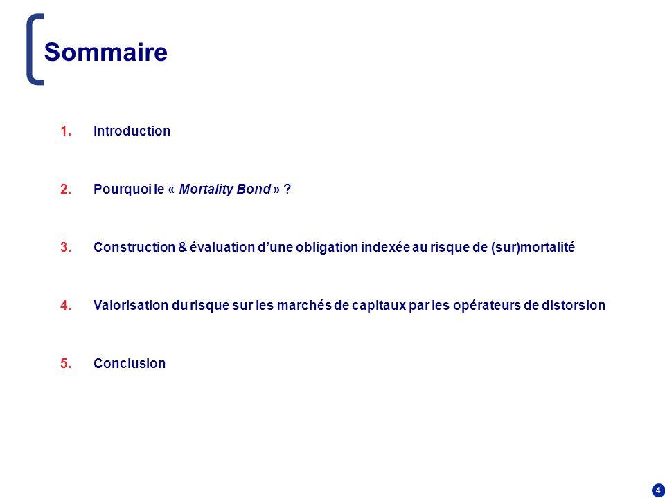 4 Sommaire 1.Introduction 2.Pourquoi le « Mortality Bond » ? 3.Construction & évaluation dune obligation indexée au risque de (sur)mortalité 4.Valoris