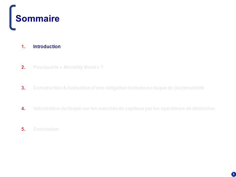 5 Sommaire 1.Introduction 2.Pourquoi le « Mortality Bond » ? 3.Construction & évaluation dune obligation indexée au risque de (sur)mortalité 4.Valoris