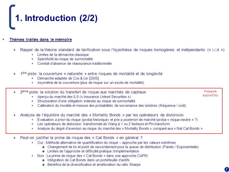 7 1. Introduction (2/2) Thèmes traités dans le mémoire Rappel de la théorie standard de tarification sous lhypothèse de risques homogènes et indépenda