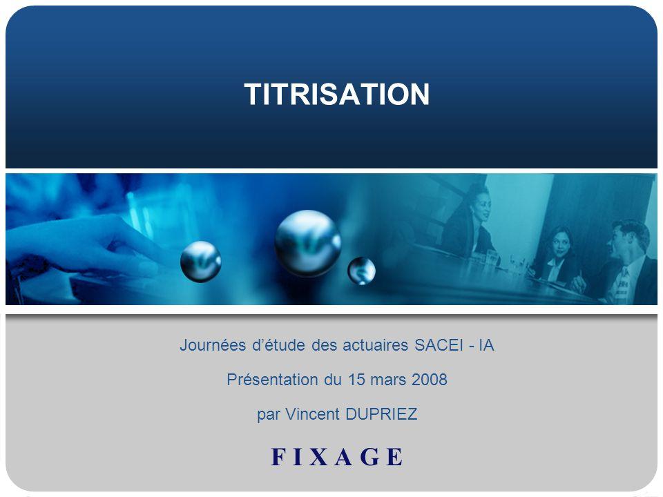 TITRISATION Journées détude des actuaires SACEI - IA Présentation du 15 mars 2008 par Vincent DUPRIEZ F I X A G E