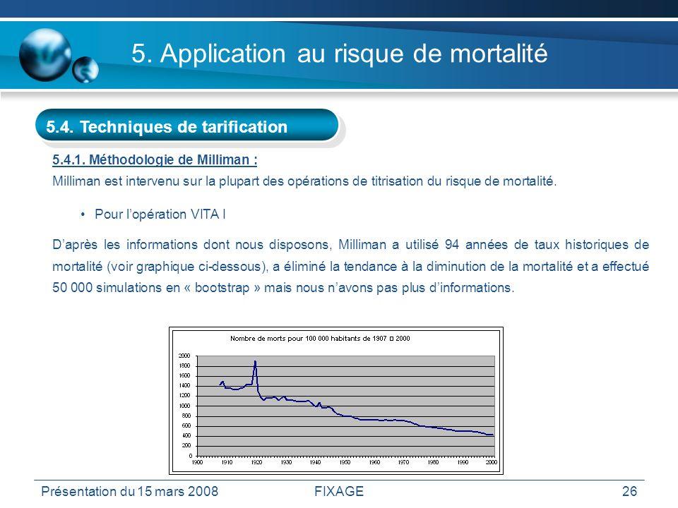 Présentation du 15 mars 2008FIXAGE26 5. Application au risque de mortalité 5.4. Techniques de tarification 5.4.1. Méthodologie de Milliman : Milliman