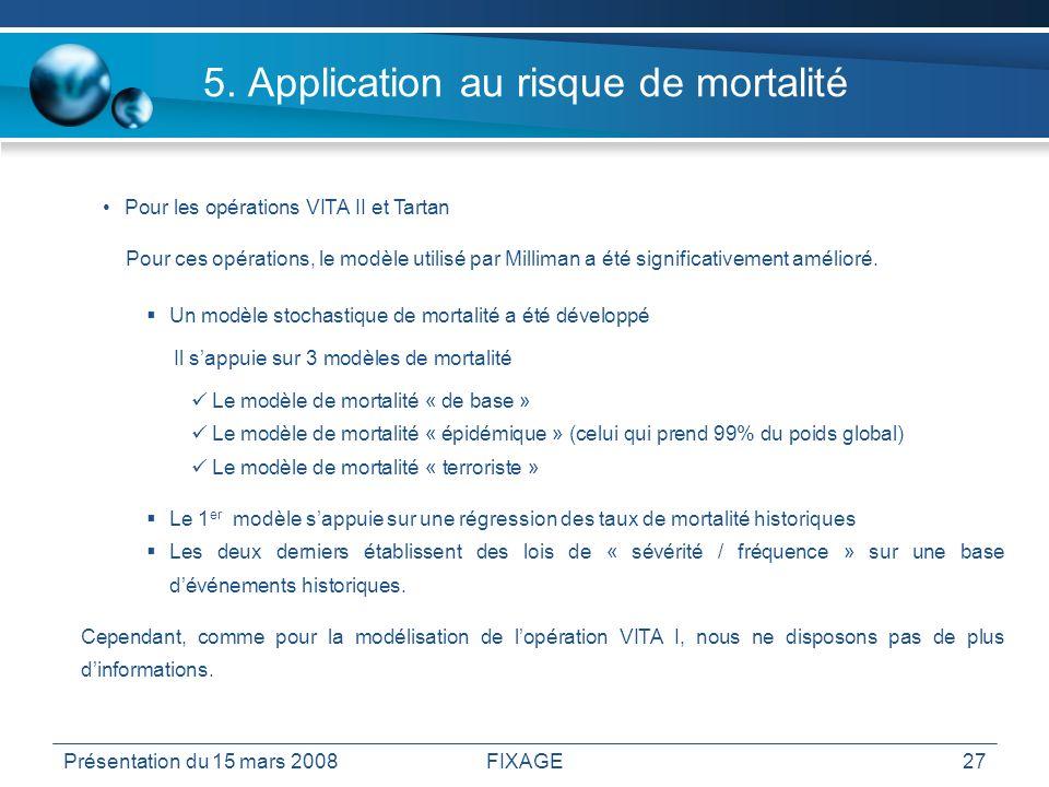 Présentation du 15 mars 2008FIXAGE27 5. Application au risque de mortalité Pour les opérations VITA II et Tartan Pour ces opérations, le modèle utilis