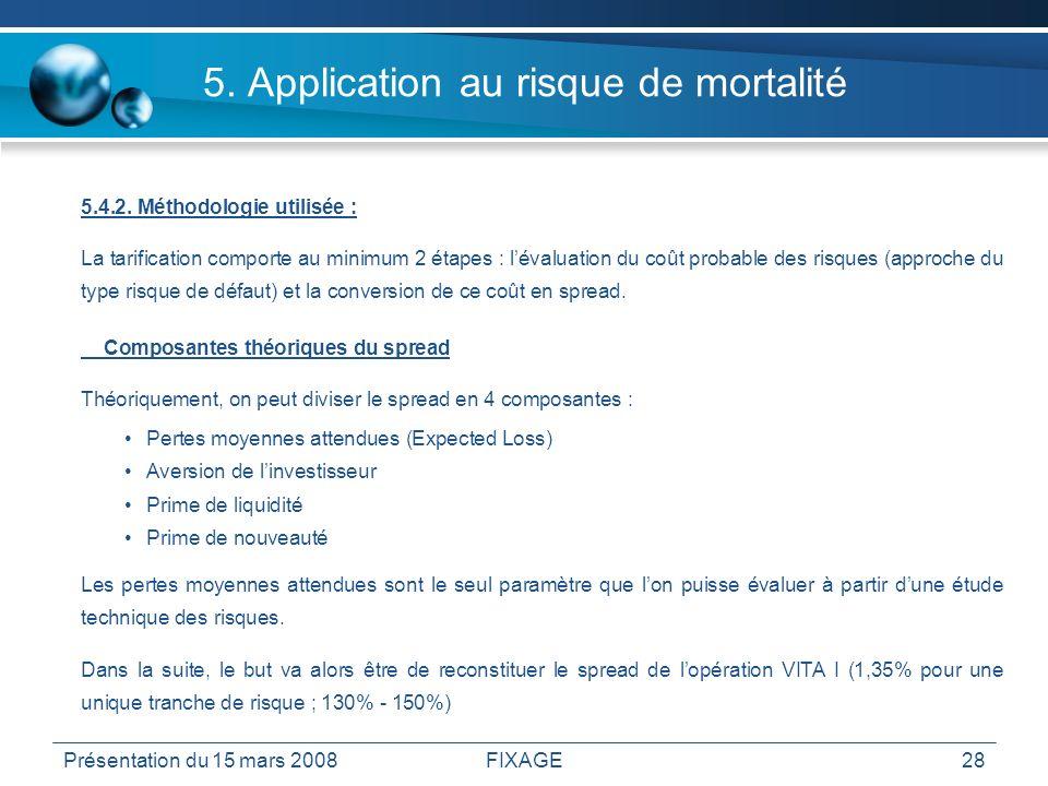Présentation du 15 mars 2008FIXAGE28 5. Application au risque de mortalité 5.4.2. Méthodologie utilisée : La tarification comporte au minimum 2 étapes