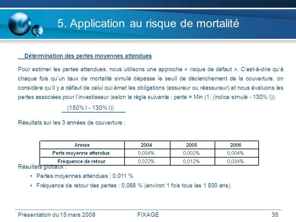 Présentation du 15 mars 2008FIXAGE35 5. Application au risque de mortalité Détermination des pertes moyennes attendues Pour estimer les pertes attendu
