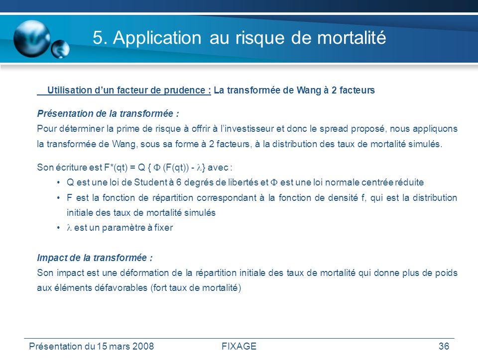 Présentation du 15 mars 2008FIXAGE36 5. Application au risque de mortalité Utilisation dun facteur de prudence : La transformée de Wang à 2 facteurs P