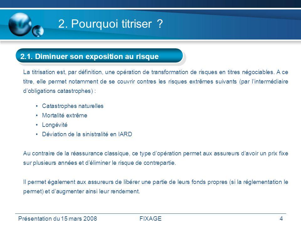 Présentation du 15 mars 2008FIXAGE4 2. Pourquoi titriser ? 2.1. Diminuer son exposition au risque La titrisation est, par définition, une opération de
