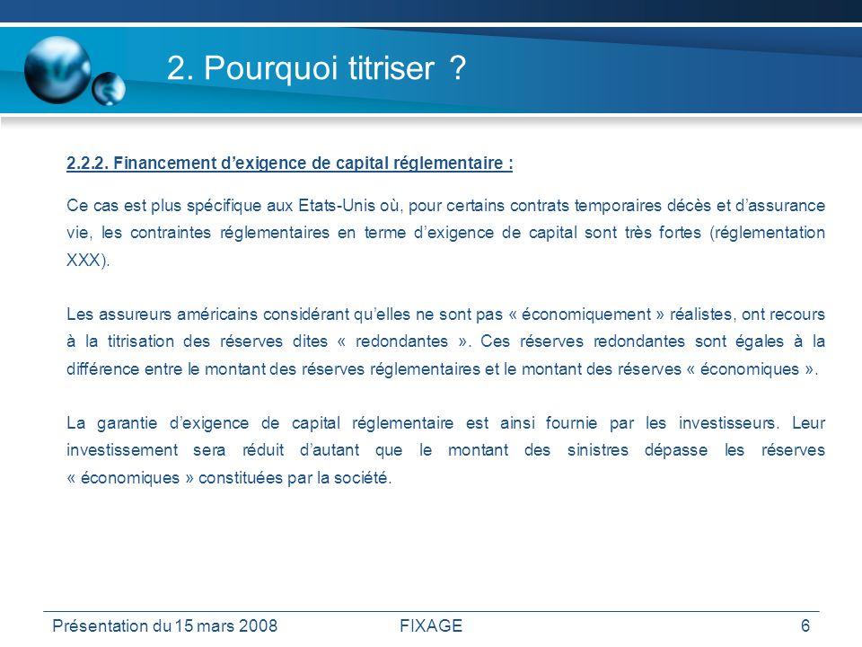 Présentation du 15 mars 2008FIXAGE6 2. Pourquoi titriser ? 2.2.2. Financement dexigence de capital réglementaire : Ce cas est plus spécifique aux Etat