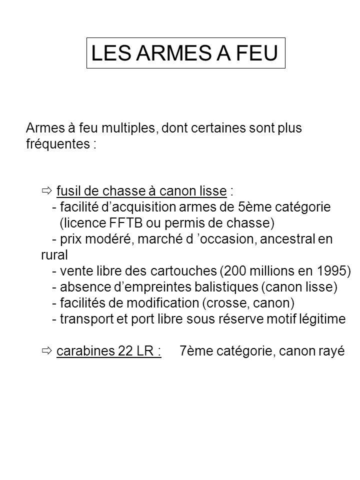 LES ARMES A FEU fusil de chasse à canon lisse : - facilité dacquisition armes de 5ème catégorie (licence FFTB ou permis de chasse) - prix modéré, marché d occasion, ancestral en rural - vente libre des cartouches (200 millions en 1995) - absence dempreintes balistiques (canon lisse) - facilités de modification (crosse, canon) - transport et port libre sous réserve motif légitime carabines 22 LR : 7ème catégorie, canon rayé Armes à feu multiples, dont certaines sont plus fréquentes :